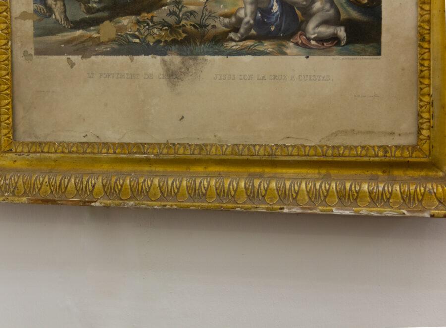 Cornici Cornice a vassoio siciliana dorata a mecca decorata a doppia palmetta